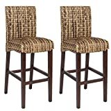 Best Choice Product BCP Set of (2) Hand Woven Seagrass Bar Stools Mahogany Wood Frame Bar Height