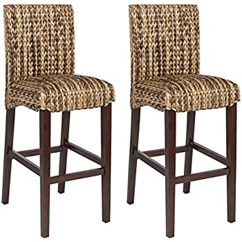 Genial Best Choice Product BCP Set Of (2) Hand Woven Seagrass Bar Stools Mahogany  Wood Frame Bar Height
