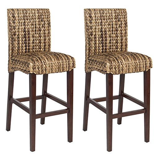 Best Choice Product BCP Set of (2) Hand Woven Seagrass Bar Stools Mahogany Wood Frame Bar Height (Rattan Bar High Stools Back)