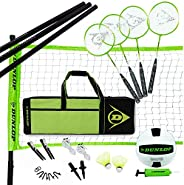 DUNLOP Dunlop Volleyball Badminton Lawn Game: 11-Piece Outdoor Backyard Party Set with Carrying Case