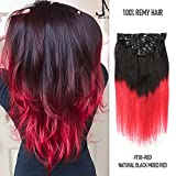 Fabwigs 14-20Inch Clip In Hair Extensions Remy Human Hair 100 Grams 8 Pieces Full Head (16inch,#T1B-Red Natural Black Mixed Red)