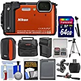 Nikon Coolpix W300 4K Wi-Fi Shock & Waterproof Digital Camera (Orange) 64GB Card + (2) Cases + Battery & Charger + Tripod + Handlebar & Helmet Mounts + Kit