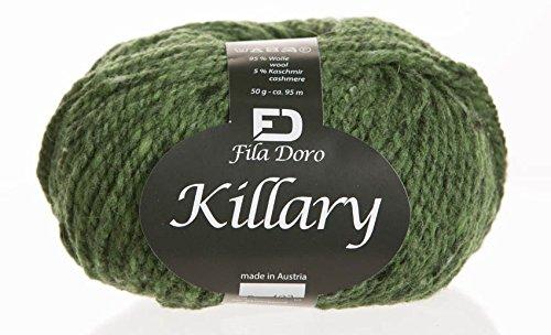 Killary tweed, Ferner wolle, merino cashmere tweed, dark green 8, bulky yarn, 50 grams 104 yrds