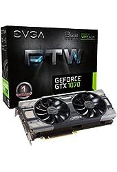EVGA GeForce GTX 1070 8GB FTW GAMING ACX 3.0, w/ Adjustable RGB LED Graphics Card 08G-P4-6276-KR