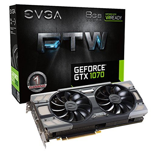 EVGA GeForce GTX 1070 FTW GAMING ACX 3.0, 8GB GDDR5, RGB LED, 10CM FAN, 10 Power Phases, Double BIOS, DX12 OSD Support (PXOC) Graphics Card 08G-P4-6276-KR