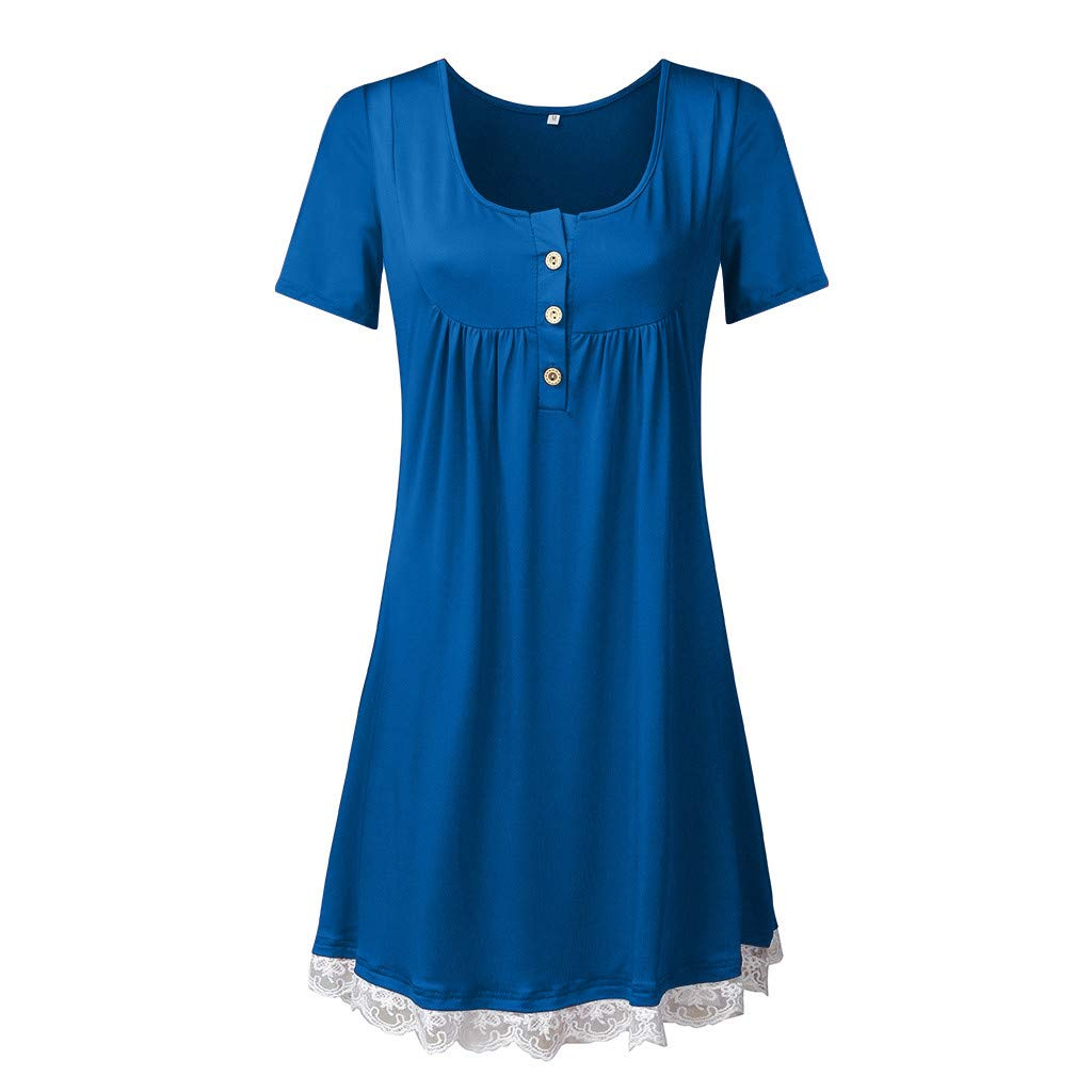 Haalife◕‿Women's Sleeveless Pockets High Low Pleated Casual Pleated Swing Beach Dress Blue by HAALIFE Women's Clothing
