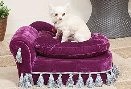 Elegante Lujo Felpa perro cama/sofá – Regal morado Chaise Lounge con almacenamiento Ideal para
