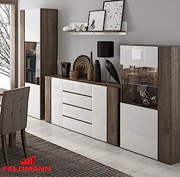 Wohnwand Wohnzimmer Set 4 Teilig 220916 Hidalgo / Weiß Hochglanz