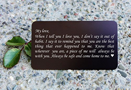 Engraved Aluminum Wallet Love Note Insert, Metal Wallet Card Insert, Mini Love Note – Deployment Gift for Him, Anniversary Gift, Boyfriend Gift, Husba…