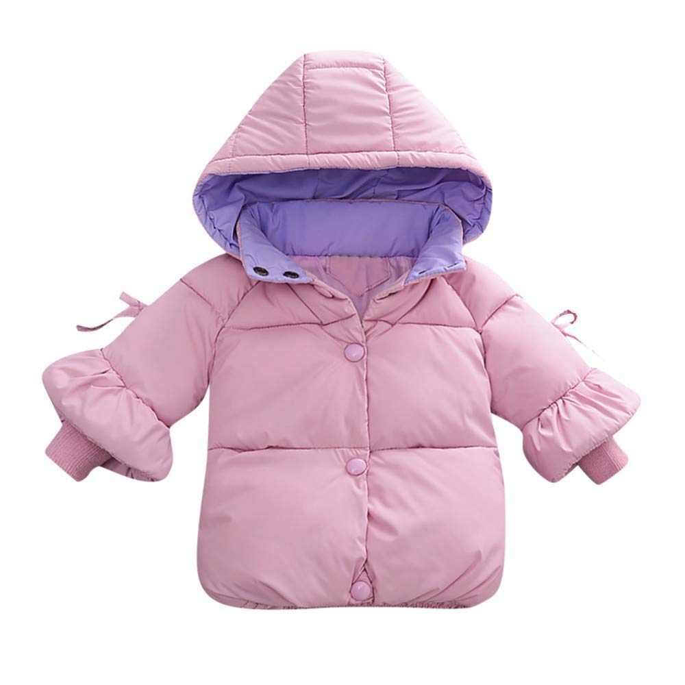 Little Girl Winter Warm Coat,Jchen(TM) Baby Infant Girl Winter Warm Solid Color Jacket Toddler Zipper Thick Hoodie Outerwear Coat for 0-24 Months (Age: 18-24 Months, Pink)