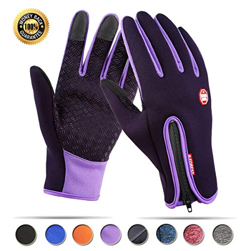 Achiou Touchscreen Gloves for Winter Warm iPhone iPad Bicycling Cycling Driving Anti-Slip Gloves Running Climbing Skiing Outdoor Sports for Men Women(Purple,L)