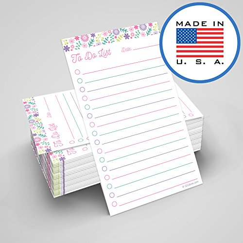 321Done to Do List Cards 3 x 5 (Set of 100 Vertical Index Cards) Double-Sided Notecards with Date to-Do Checklist - Thick Card Stock - Made in The USA, Floral Pastel