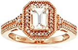 10k Rose Gold Octagon-Shape Morganite with White Diamond Ring (1/5cttw, I-J Color, I2-I3 Clarity)