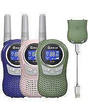 QNIQLO Q168 Plus+ Macaron Walkie Talkie 3 Pack Kinderen USB Oplaadbaar, 8-Kanaals Tweewegcommunicatie,Goede Hulp voor Kamperen,Fietsen,Wandelen,Modieus feestelijk Cadeau voor Kinderen (RozeGroenBlauw)