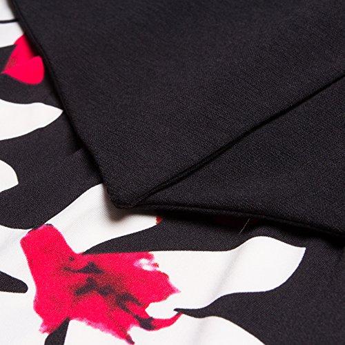 Cou Trou De La Serrure Élégante Des Femmes Bewish Sans Manches Imprimé Floral Robe Moulante Crayon Noir