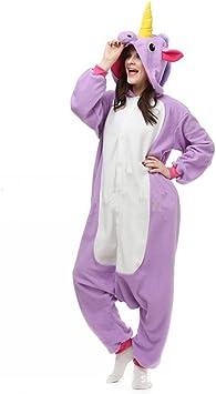 misslight Unicornio Pijamas Animal Ropa de Dormir Cosplay Disfraces Pijamas para Adulto Niños Juguetes y Juegos (L, Purple)