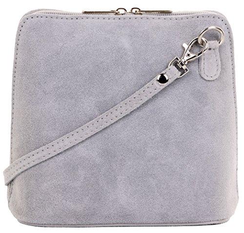 Primo Sacchi cuir Suede italien petit/micro sac de carrosserie ou sac à bandoulière sacs à main. Comprend un sac de rangement de marque Gris Clair