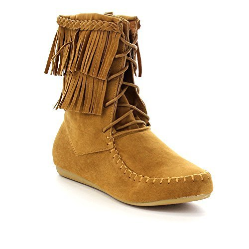 Forever Candice-22 Women's Sassy Two Layer Fringe Moccasin Ankle Booties,Tan,8 ()