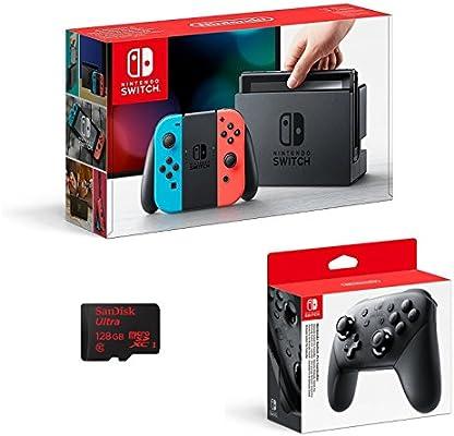 Nintendo Switch - Color Azul Neón/Rojo Neón + Mando Pro Controller ...
