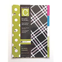 "Studio C Decorative 5 Tab Dividers, 6"" x 8.5"" - for 8.5"" x 5.5"" Ring Binders, Simply Chic Design - Single Set"