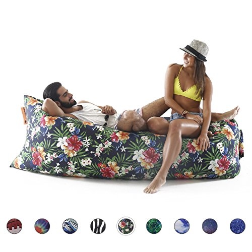 newnomad inflatable lounge chair, airsofa, inflatable lounger, lamzac, ideal for music festival and camping, inflatable air lounger. (tropical forest)