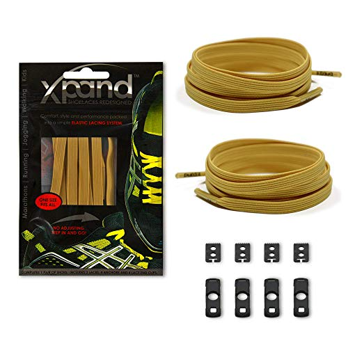 (Xpand No Tie Shoelaces System with Elastic Laces - Golden Tan - One Size Fits All Adult and Kids Shoes)