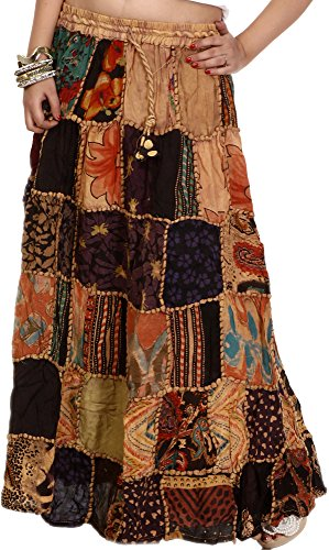 Exotic India Long Printed Dori Skirt from Gujarat with - Color Beige. -