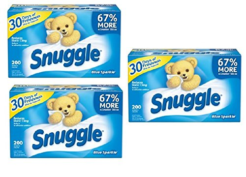 - Snuggle Blue Sparkle Scent Fabric Softener Dryer Sheets | Reduces Static Cling (PACK OF 3)