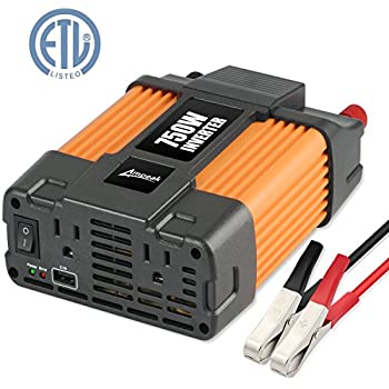Amazon ampeak 750w power inverter dc 12v to 110v ac converter ampeak 750w power inverter dc 12v to 110v ac converter with 21a usb dual ac outlets car inverter publicscrutiny Choice Image