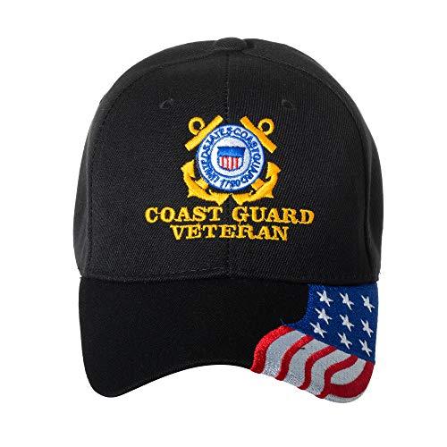 United States Coast Guard Veteran Embroidered Black Baseball Cap