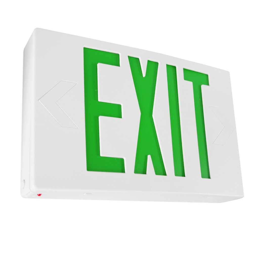 eTopLighting LED Exit Sign, Emergency Light, Green Lettering in White Body, Battery Back Up, Extra Face Plate Double Face, Ceiling/Wall Mount, AGG2163