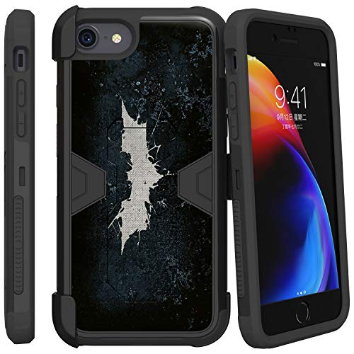 TurtleArmor | Compatible with Apple iPhone SE 2 Case (2020) | Apple iPhone XE Case [Clip Caliber] Protective Armor Hard Impact Shockproof Case Kickstand Holster Belt Clip - Bat Signal