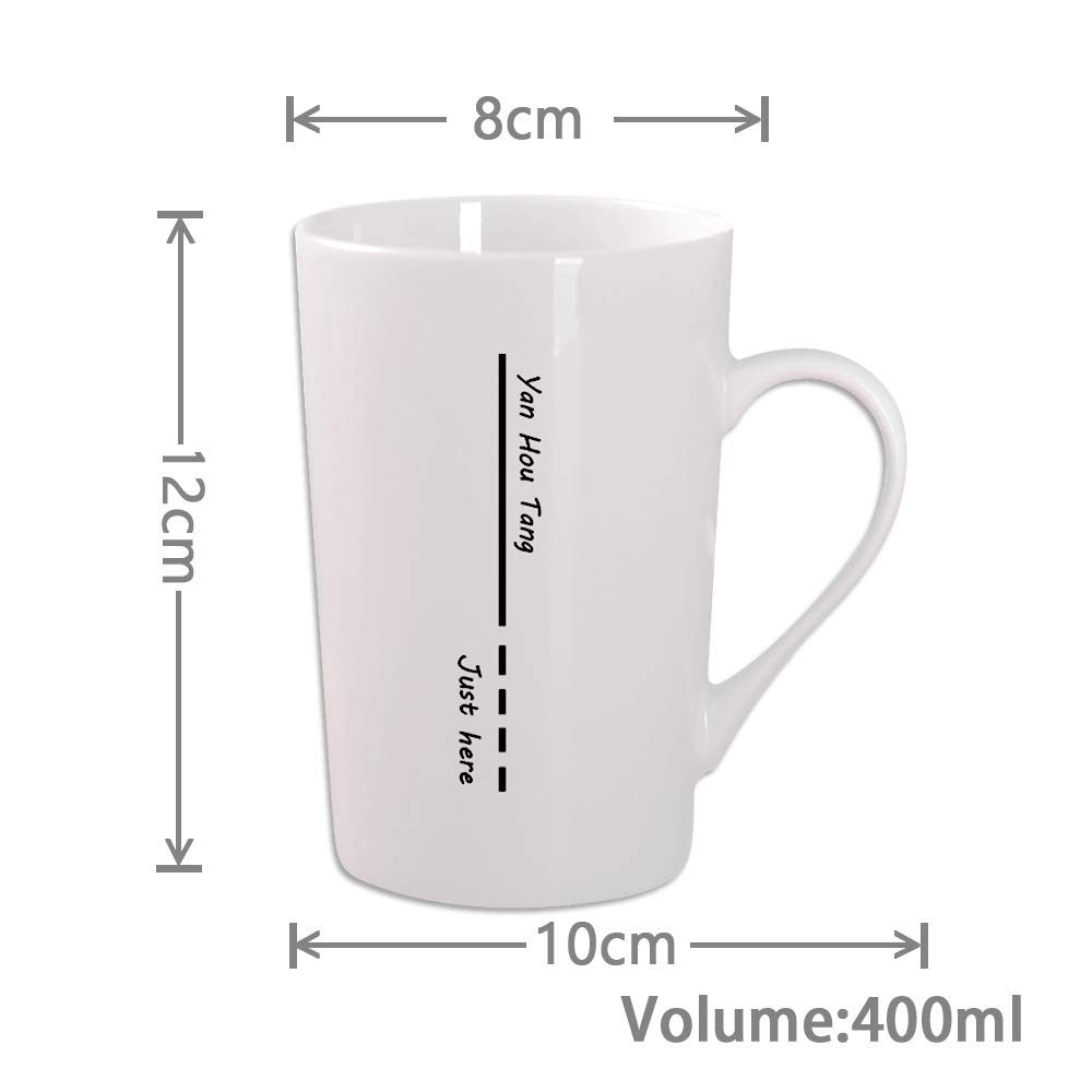 Yan Hou Tang Simple and Plain Solid Line Mug Cup Coffee Water Juice Beer Wine Tea Hot Cold - 400ml 14oz Serving Carving Crafts Style for Home Office Club Pup Party Drink Cheers white