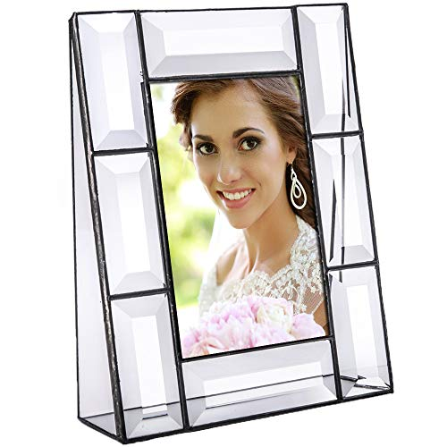 J Devlin Pic 112-46V Picture Frame 4x6 Vertical Wedding, Anniversary or Family Photo Frame Crystal Clear Beveled Glass