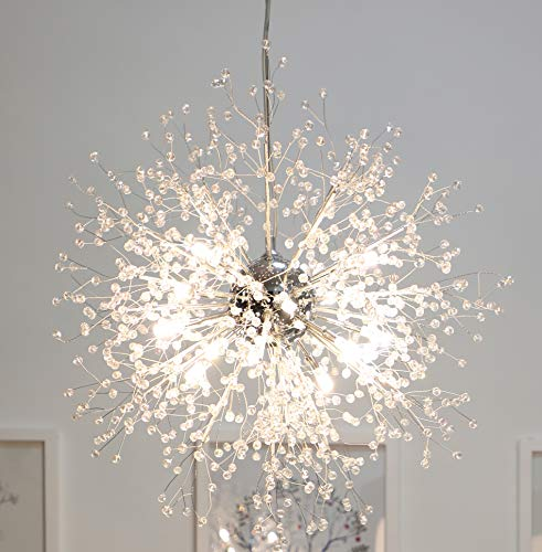 GDNS Chandeliers Firework LED Light Stainless Steel Crystal Pendant Lighting LED Globe Living Room - Flower Pendant Cord