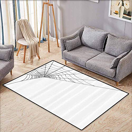 Non-Slip Rug,Modern,Spider Web Icon Background Abstract Form Halloween Scary Evil Themed Illustration,Children Crawling Bedroom Rug,5'3