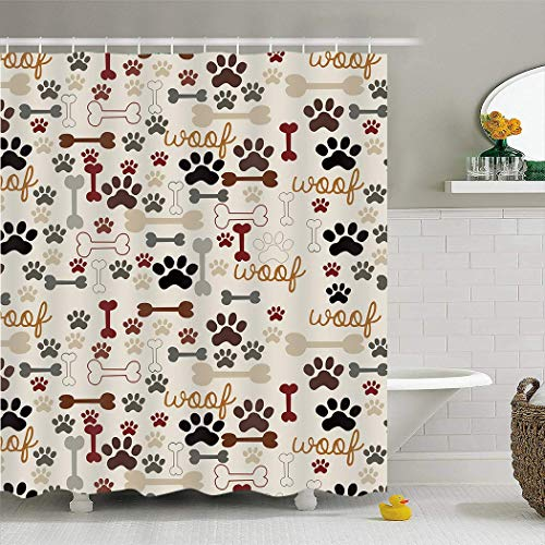Womenfocus Custom Waterproof Polyester Fabric Shower Curtain Set with Hooks for Bathroom Bathtubs Decorations, 36x72 inch - Dog Paws and Bone Funny Design