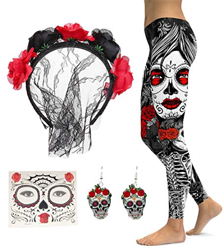 FUNDAISY Lace Veil Rose Flower Headband with High Waist Skull Earring Yoga Leggings Pant (Balck Red, XL) -