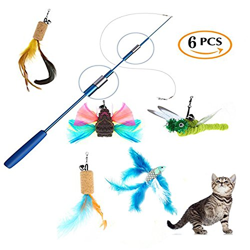 39 inch Retractable Cat Feather Wand Tease Toy Set,5 Assorted Interactive Feather Fish/Butterfly/Dragonfly for Kitten-Blue