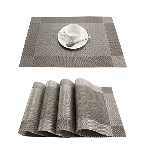 GEFEII Heat-Resistant Woven Vinyl Placemats Stain Resistant Non-Slip Washable PVC Table Mats Place mats for Kitchen Dining Table Wedding Party (Silver-Gray, 6)