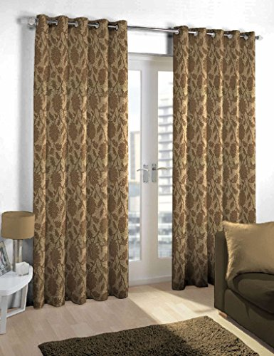 Skipper Leaf Polyviscose Eyelet Long Door Curtain – 8ft, Brown