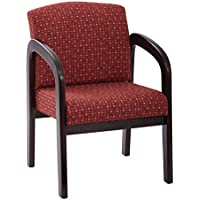 Work Smart Fabric Mahogany Finish Wood Visitor Chair, Ruby