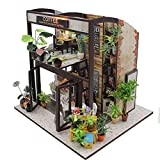 TORCHNOLOGY DIY Dollhouse Miniature Set-Model Building to Garden Fairy House 3D Wooden Puzzle House (Cafe)