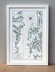 Chesapeake Bay, Maryland, Letterpress Map Unframed Print