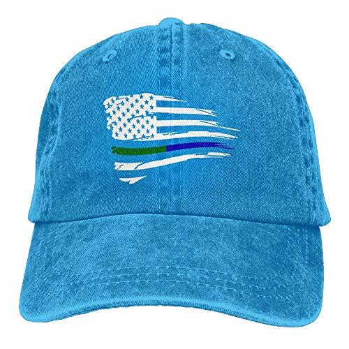 WANING MOON American Flag Blue Green Thin Line Cowboy Hat Adjustable Baseball Cap Sunhatcap Peaked Cap