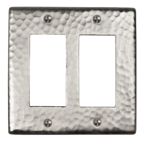 The Copper Factory CF124SN Solid Hammered Copper Double GFCI Plate, Satin Nickel Finish