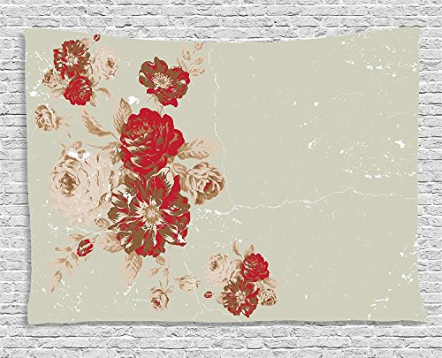 Antique Collection Vintage Style Rose Print on a Marble Pattern Floral Antique Design Garden Beige Cream Red Supersoft Throw Fleece Blanket 49.21x78.74 Inches