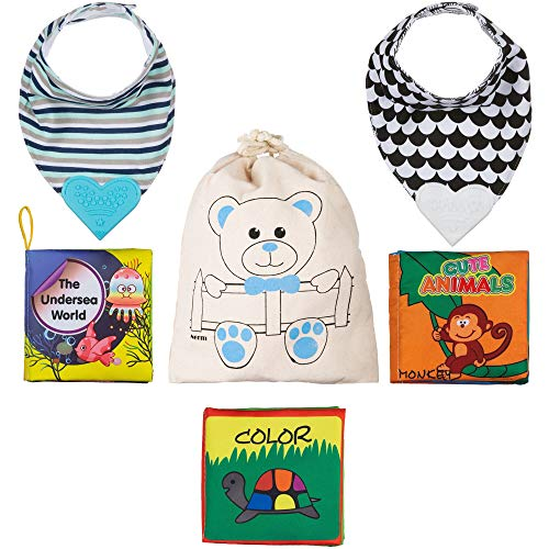 Nerm Baby Gift Set Soft Cloth Book, Colorful, Crinkle, Non-Toxic (Pack of 3) + 2 Bandana Drool Bibs with BPA Heart Silicon Teether, Reversible, Soft, Adjustable Nickel-Free Snaps - in a Gift Bag.