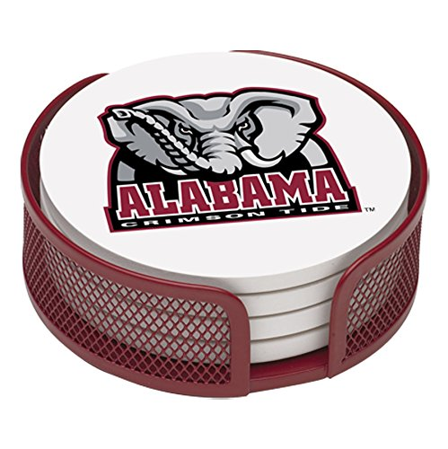 (Thirstystone VUAL2-HA22 Stoneware Drink Coaster Set with Holder, University of Alabama)