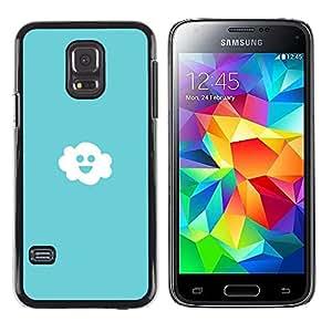 QCASE / Samsung Galaxy S5 Mini, SM-G800, NOT S5 REGULAR! / cielo de nubes de luz azul felicidad blanco sonriente / Delgado Negro Plástico caso cubierta Shell Armor Funda Case Cover
